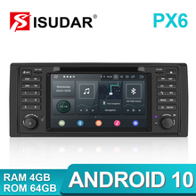 Isudar PX6 Android 10 Hexa Core 1 Din Auto Radio For BMW 5 Series E39 CANBUS Car Multimedia Video DVD Player GPS Navigation DSP