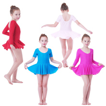 SONGYUEXIA Girls Ballet Dance Dress Childrens Gymnastics Leotard Skirt Kids Stage Dance Wear  4 Colors Girls Costume