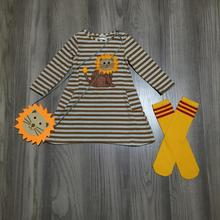 spring/winter baby girls outfits dress stripe lion cotton milk silk boutique mustard clothes knee length match socks and purse