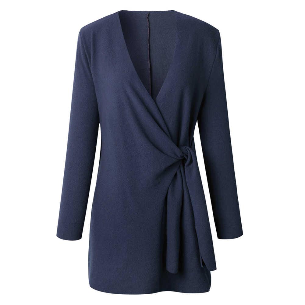 Wanita Sweter Mantel Chic Warna Solid V Leher Panjang Lengan Pinggang Diikat Santai Rajutan Kasual Longgar Wol Renda lebih Tinggi Jaket