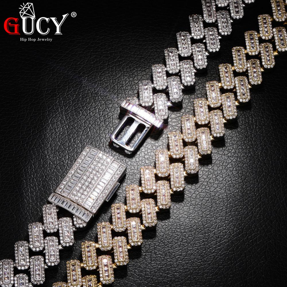GUCY20mm Miami Prong Set Cuban Chains Necklace For Men Gold Silver Color Hip Hop Iced Out Paved Bling CZ Rapper Necklace Jewelry