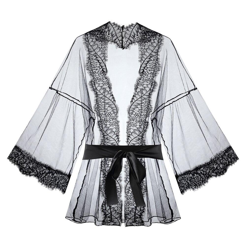 Lace Trim Sheer Mesh Belted Robe Lingerie Sexy Costumes Nightwear Hot Underwear Erotic Nightdress