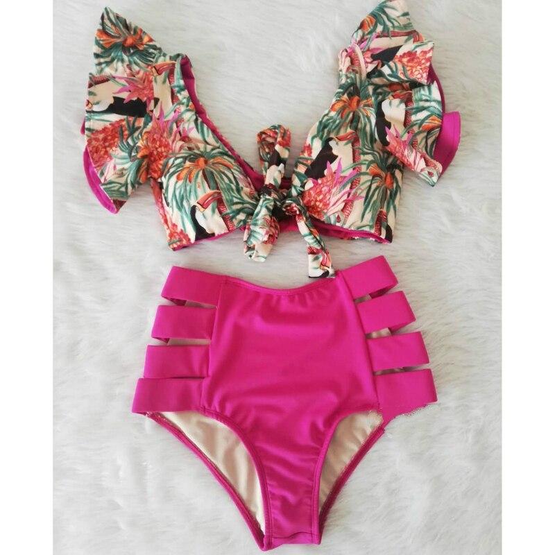 High Waist Bikini Set Swimwear Women Swimsuit Sexy Push Up Biquini Ruffle Bikinis Floral Printed Feminino 2020 Bathing Suit