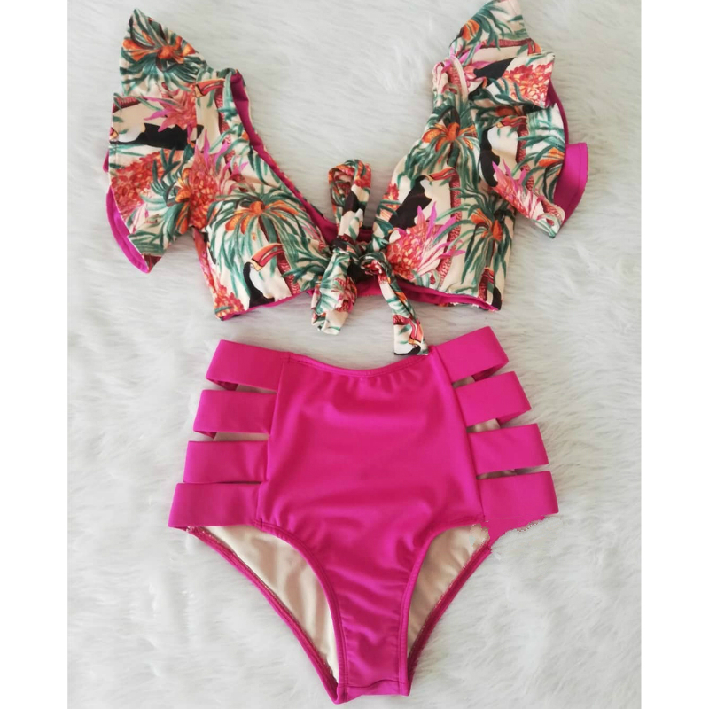 High Waist <font><b>Bikini</b></font> Set Swimwear Women Swimsuit <font><b>Sexy</b></font> <font><b>Push</b></font> <font><b>Up</b></font> Biquini Ruffle <font><b>Bikinis</b></font> Floral Printed Feminino 2020 Bathing Suit image