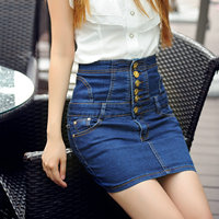 High Waist Woman Skirts Blue Jeans Button Fashion Clothes Blue Mini Sexy Girl Skirts