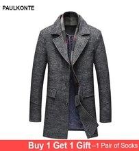 PAULKONTE 2019 New Autumn Winter Man Jacket Casual Thick Slim Mid Length Wool Turndown Collar Busines Mens Coat M-5XL
