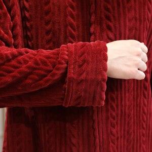 Image 5 - 女性の冬プラスサイズロング暖かいフランネルバスローブ花嫁居心地フード付きバスローブ妊婦ジッパー夜のガウン男性パジャマ