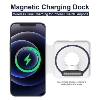 Q500 Foldable Magnetic Wireless Charger For iPhone 12 Magnet Duo Charging For iWatch For iphone 15W