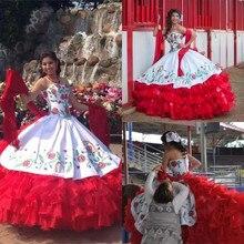 فستان حفلات مثير 2020 أبيض وأحمر متدرج مزين بتطريز من Quinceanera مع أربطة بطول الأرض للحفلات الراقصة