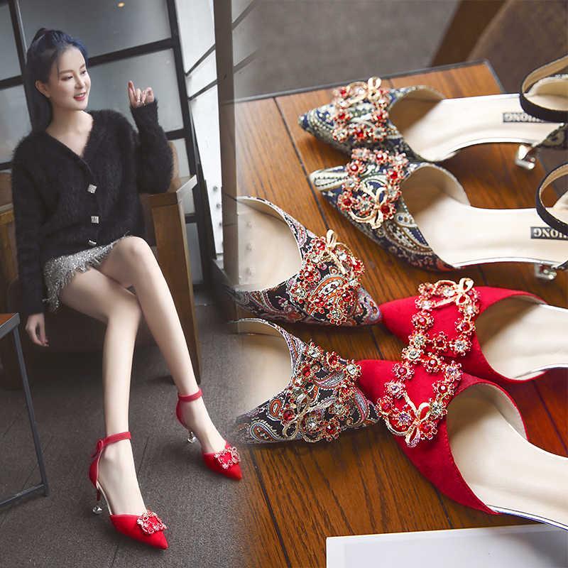 Kristall Leinwand Blumen Spitz Mode Frauen Schuhe Kätzchen Med Dünne Ferse Partei Schuhe