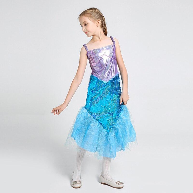 Novelty Girls Dresses Sleeveless Sequined Children Fashion Princess Halloween Cosplay Mermaid Costumes