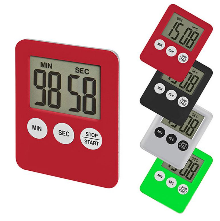 Super Thin LCD Digital Screen Kitchen Timer Square Cooking Count Up Countdown Alarm Magnet Clock Kitchen Accessories
