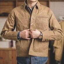 MADDEN Retro Chaqueta de algodón y lona encerada para hombre, chaqueta ligera informal de trabajo, color caqui, talla M a XXL
