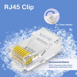 Image 2 - AMPCOM CAT6 RJ45 مقبس تركيبي موصل UTP 50U مطلية بالذهب 8P8C تجعيد نهاية لكابل إيثرنت ، كابلات الموصلات إيثرنت السائبة
