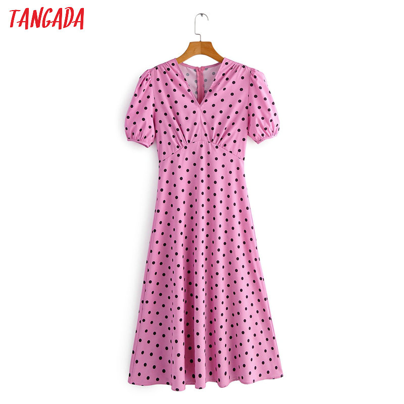 Tangada Fashion Women Dot Print Pink Summer Dress Short Sleeve Tunic Ladies V Neck Work Midi Dress Vestidos 2F34