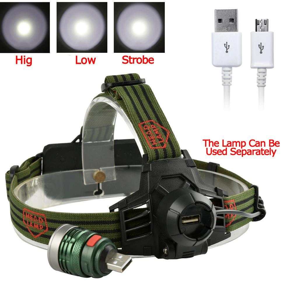 8000LM Q5 LED Headlamp Rechargeable 18650 Adjustable Focus 3 Modes Waterproof Torch Camping Hiking Fishing Powerful Headlights