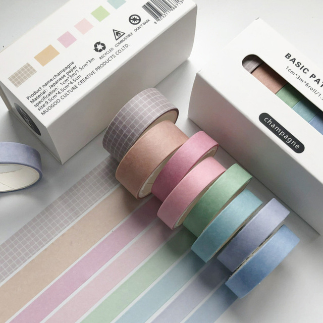 10PCS Colorful Washi Tape Solid Masking Paper Sticker DIY Label Stationery