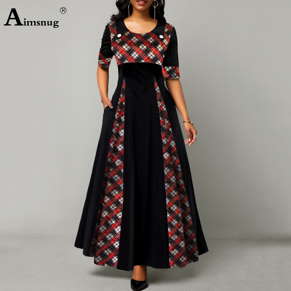 Plus size 5xl Women Elegant Long Dress O Neck England Style Patchwork...