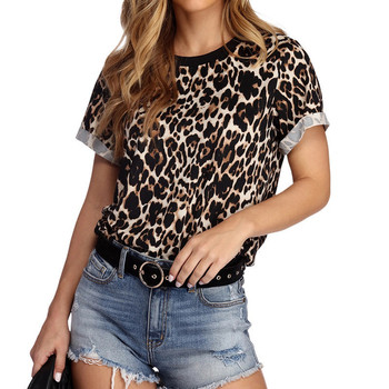 Summer Tee Leopard Printing Round Neck Lady Short Sleeve Shirt Harajuku Women Tops Punk Girls Haut Femme Rz*