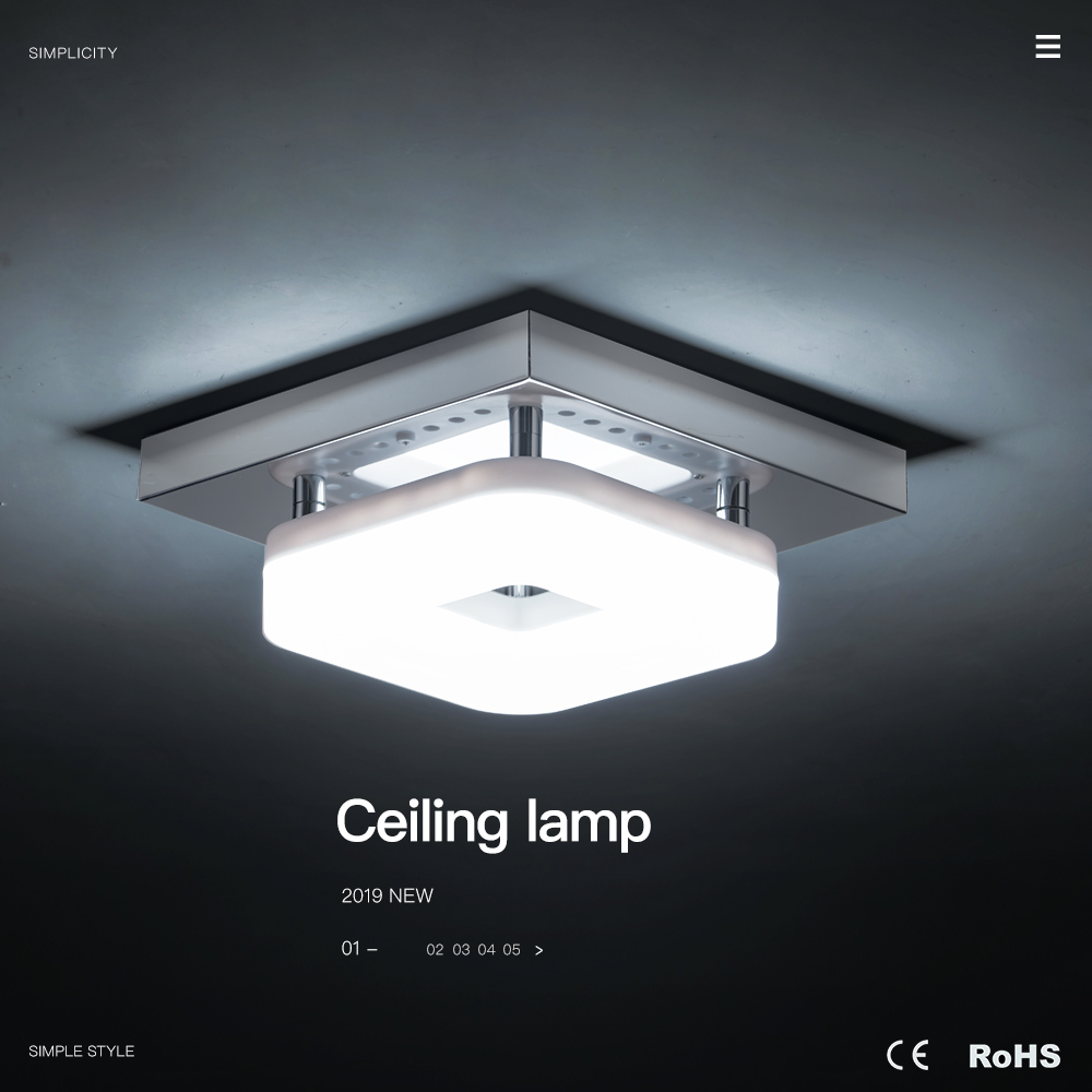 H107b11233e6c4056a7235d66b5af627cr Kitchen Ceiling Lights | Kitchen Spotlights | Modern Minimalism Black Square Iron Dimming Ceiling Lamp Bathroom Balcony Corridor Aisle Kitchen Surfaced Mounted Ceiling Light Wattage 12W