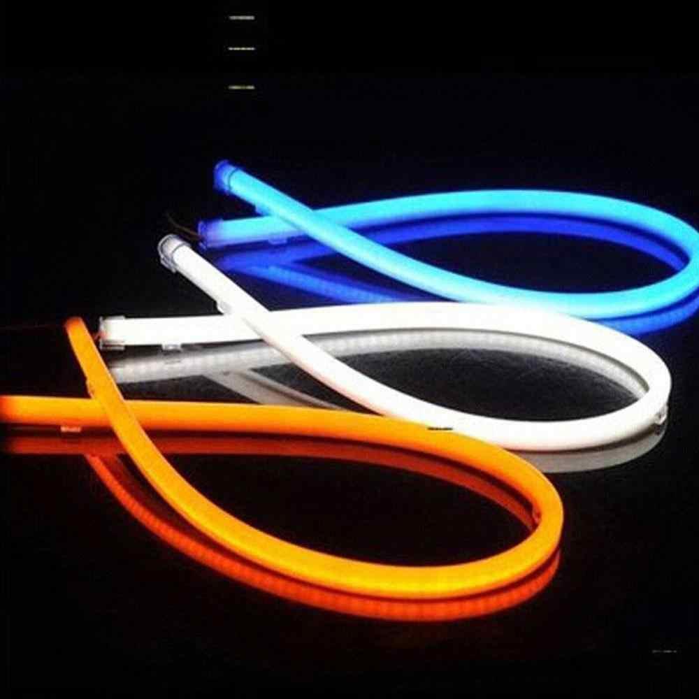 30/45/60 سنتيمتر LED سيارة دراجة نارية مرنة DRL النهار تشغيل قطاع ضوء لينة أنبوب Tears مصباح عيون العلوي مصابيح القيادة