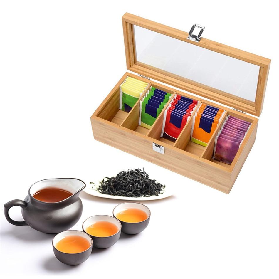 Bamboo System Tea Box System Tea Bag Jewelry Organizer Storage Box 5 Compartments Tea Box Organizer Wood Sugar Packet Container