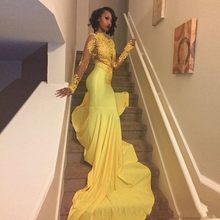 Pretty Yellow African Lace Appliqued Prom Dress Mermaid Long Sleeve Banquet Evening Party Gown Custom Made robe de soriee(China)