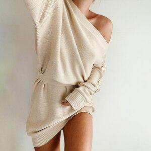 Image 1 - Misswim 캐주얼 니트 풀오버 스웨터 드레스 여성 우아한 한 어깨 새시 가을 겨울 드레스 숙녀 느슨한 미디 드레스 2019