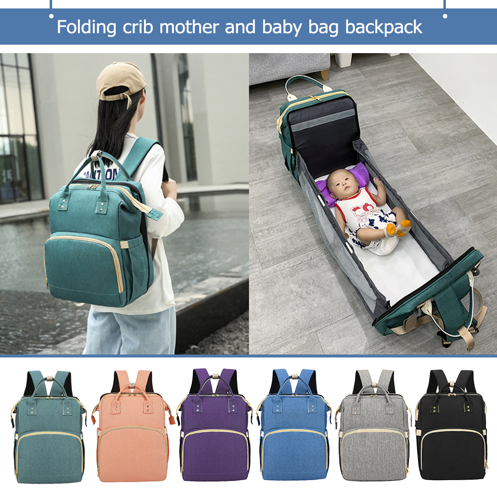 2 in 1 Fashion Diaper Bag Multifunctional Folding Baby Mommy Travel Backpack Portable Large Capacity Nappy Maternity Bag 2021