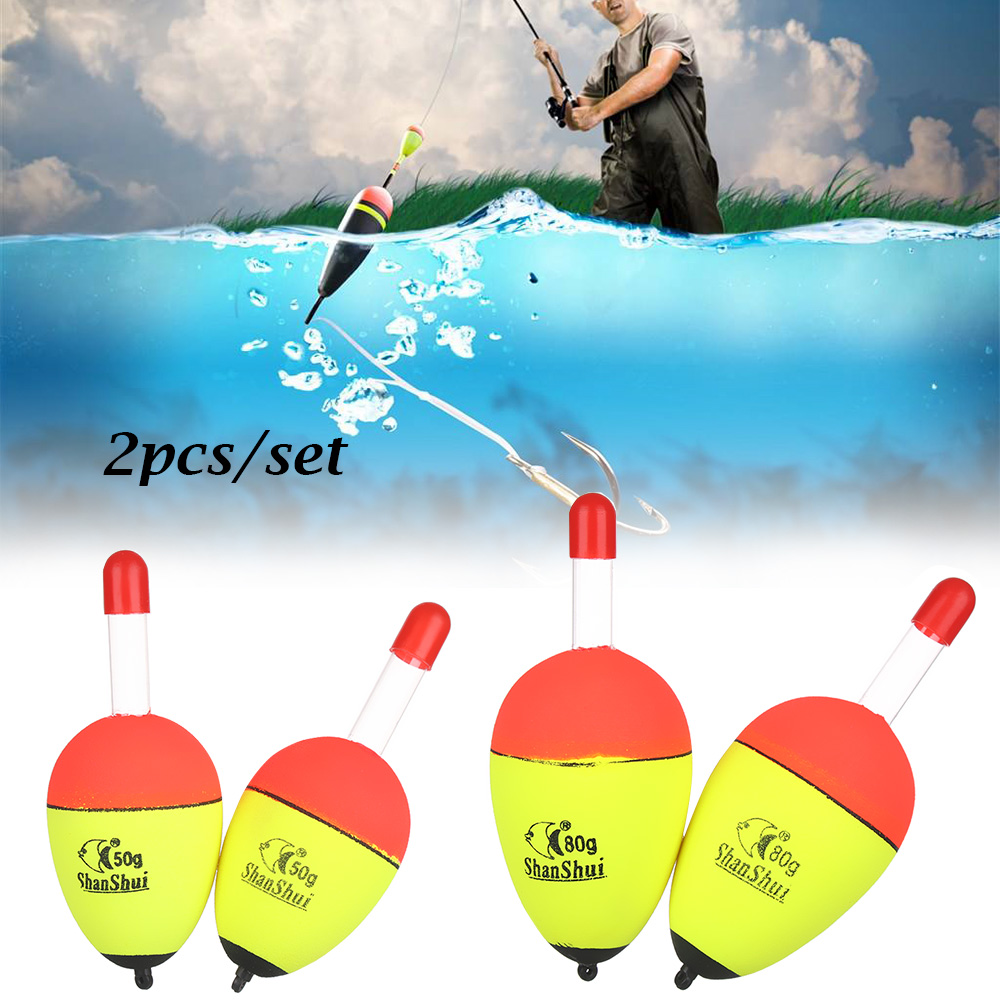 2 unids/set de flotadores flotantes luminosos de EVA para pesca en roca de mar, flotadores de vientre con cola dura llamativa de 5g/8g/10g/15g/20g/30g/40g/50g/60g/70g/80g