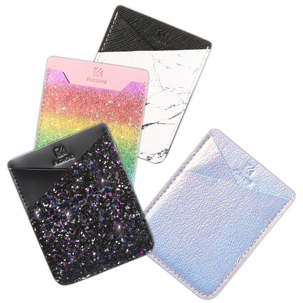 Hot Sale Fashion Shining Mobile Phone ID Credit Card Holder Wallet Credit Pocket Adhesive Back Sticker Pouch Phone Accessories