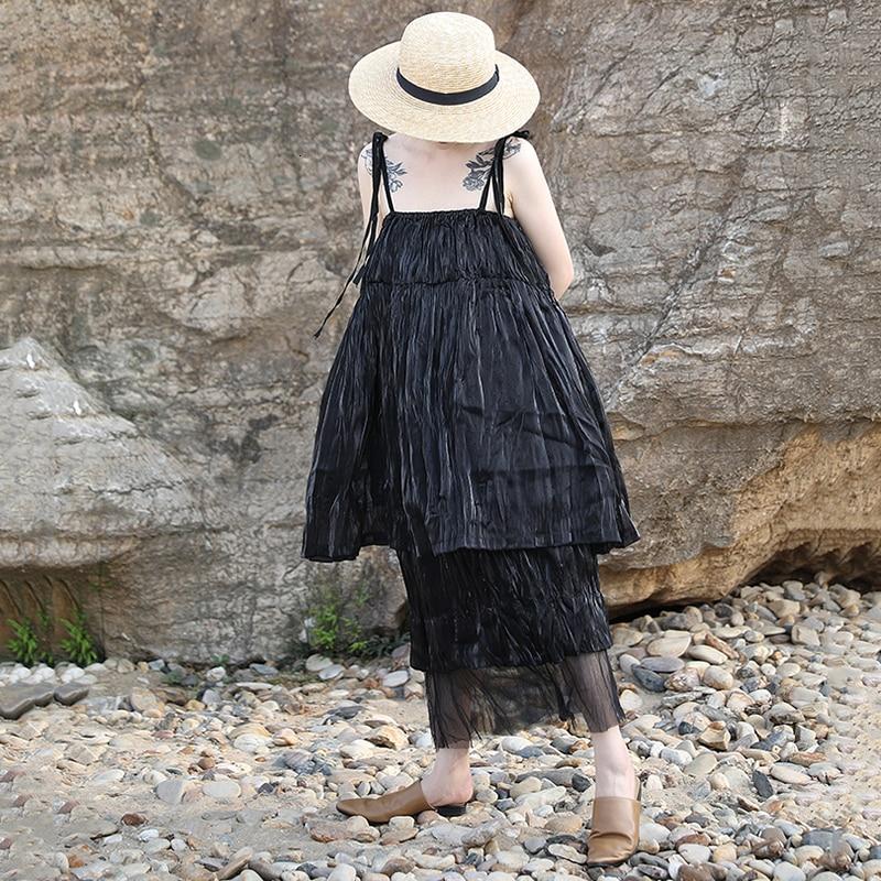 New Fashion Style Summer Spaghetti Strap Sleeveless Black Fold Split Joint Temperament Dress Fashion Nova Clothing