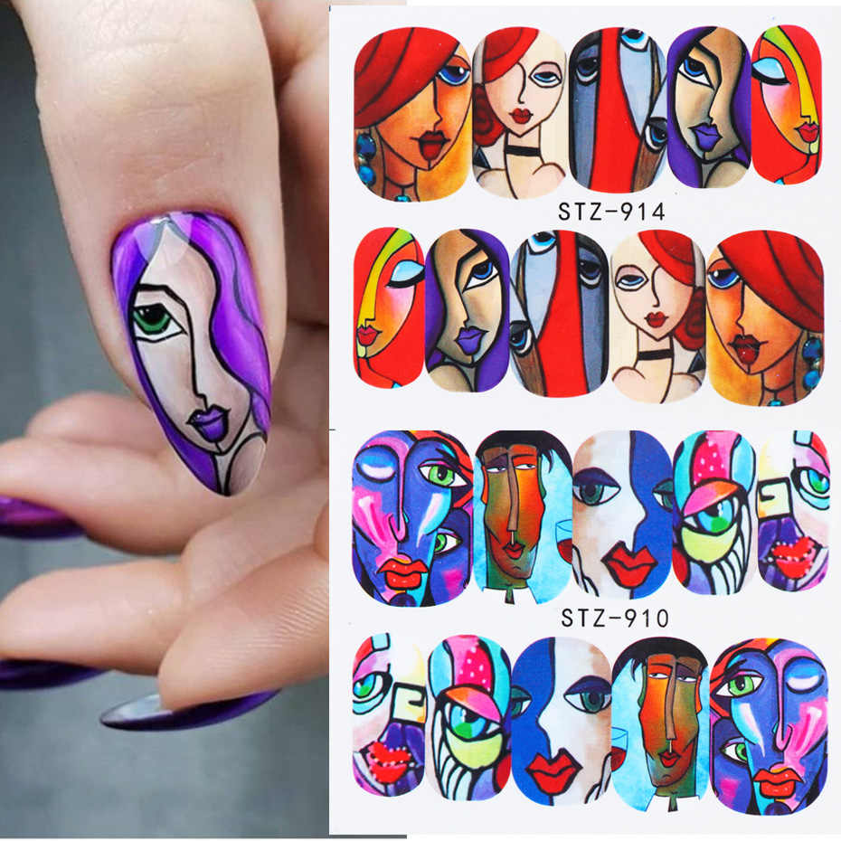 1 vel Abstract Gezicht Ontwerp Nail Art Sticker Cool Girl Water Transfer Decals Slider Voor Nagels Kunst Decoratie Wraps SASTZ906-921