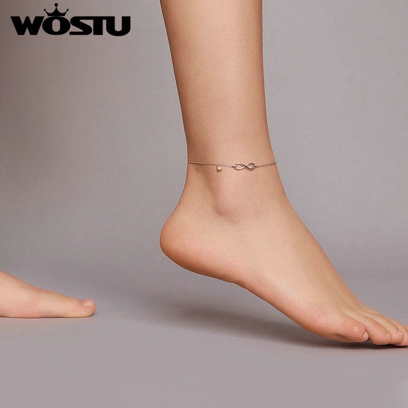 WOSTU Summer New 925 Sterling Silver Infinity Love Infinite Anklet Simple Chain Anklets for Women Fine Jewelry Gift CQT019