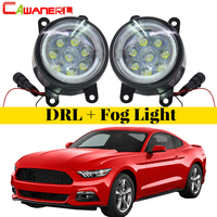 Cawanerl Car Accessories LED Fog Light Angel Eye Daytime Running Light DRL 12V 2 Pieces For Ford Mustang 2005 2013