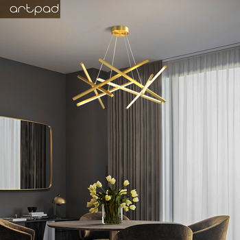 Artpad Gold / Black LED Chandelier Lighting For Living Room Home Decoration Hanging Lamp Modern Simple Iron Chandeliers modern black chandelier lighting for living room bedroom wedding decoration chandeliers lamp hanging suspension modern lighting