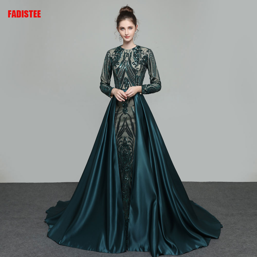 Muslim long sleeves Prom party Dresses Vestido de Festa robe mariee communion fille beads evening dresses