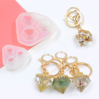 UV Epoxy Resin Mold Transparent Silicone Mould UV Resin Decorative Craft DIY Diamond Mold Cutting Molds for Jewelry Making DIY double one silicone mold gourd cabochon beads with hole mould for resin jewelry making diy craft
