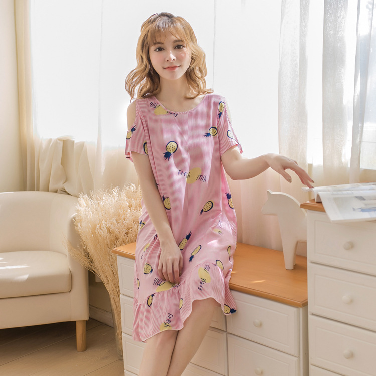 New Style Summer Large Size WOMEN'S Nightgown Printed Cotton Silk Short Sleeve Off-Shoulder Students Nightgown