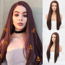 RONGDUOYI Long Straight Wigs Synthetic Lace Front Wig Side