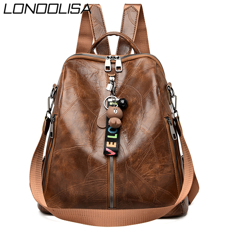 3 In 1 Retro Backpack Women PU Leather School Bags For Teenage Girls Cute Bear Shoulder Bags For Women Vintage Travel Backpack