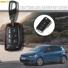Leather Car Key Cover Black Remote 3 Buttons Case Fob Keychain For VW Passat B5 B6 Skoda Octavia A7 Karoq Fabia Seat Altea