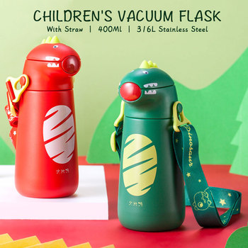 Pinkah Childrens Vacuum Flask 400ml With Straw Water Cup Sealed Leak-Proof Thermos Stainless Steel Portable Baby Milk Bottle