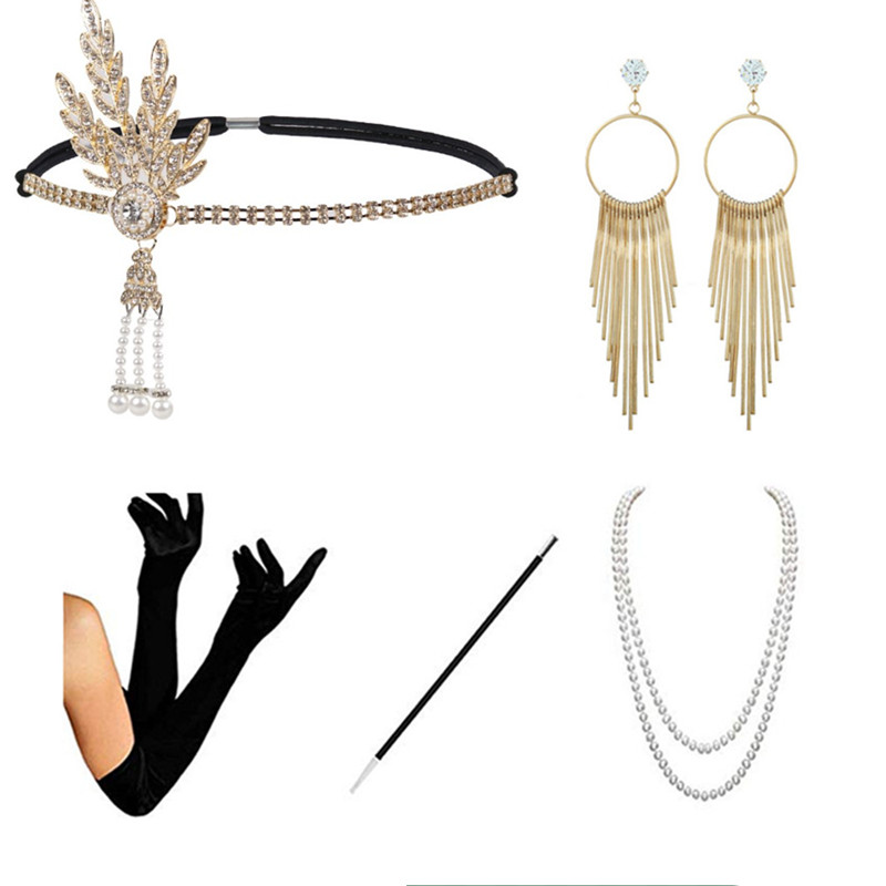 Womens 1920s Flapper Accessories Great Gatsby Costume Accessories Set