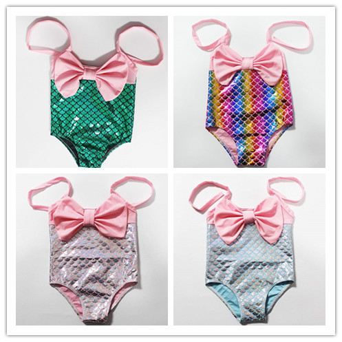 Europe And America Foreign Trade Tour Bathing Suit KID'S Swimwear Mermaid Baby Split Type One-piece Swimming Suit Infant Small C