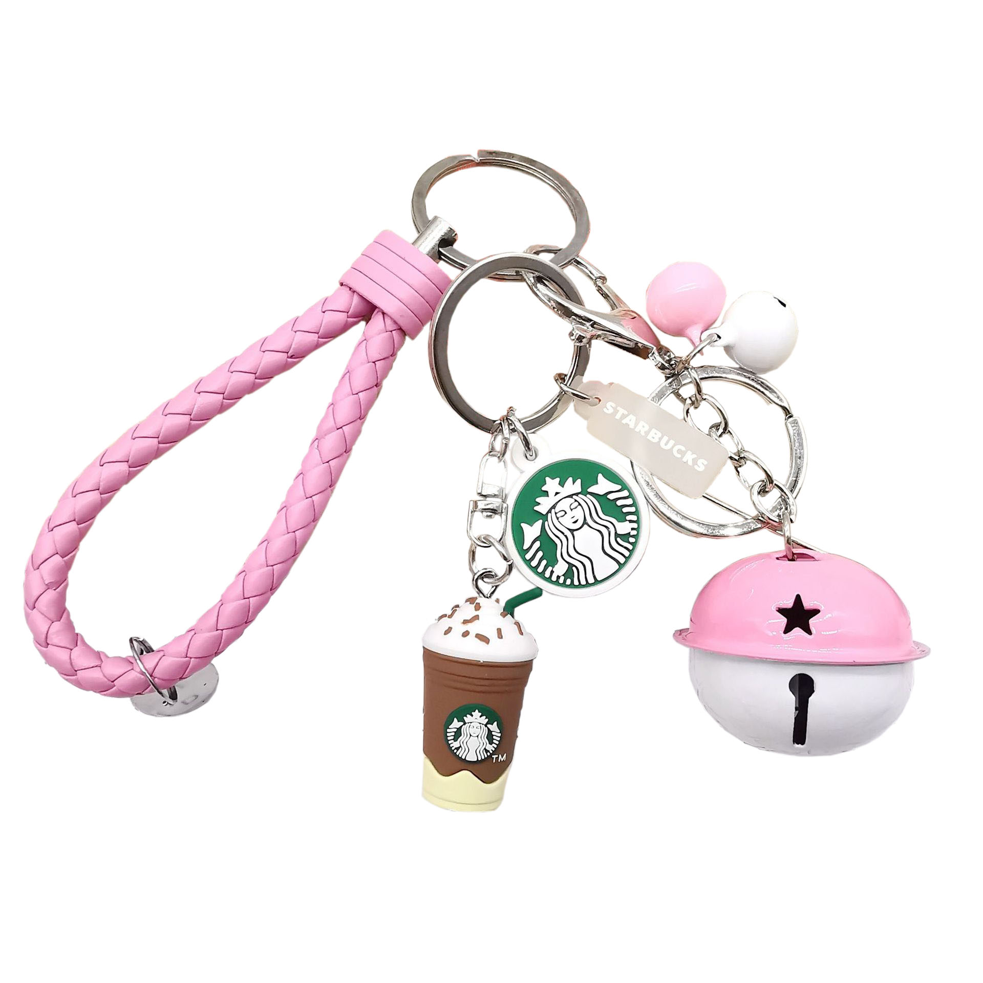 Cute Coffee Cup Model Bell Keychain For Young Men And Women Couple Jewelry Key Chains Accessories Leisure Style Keyring