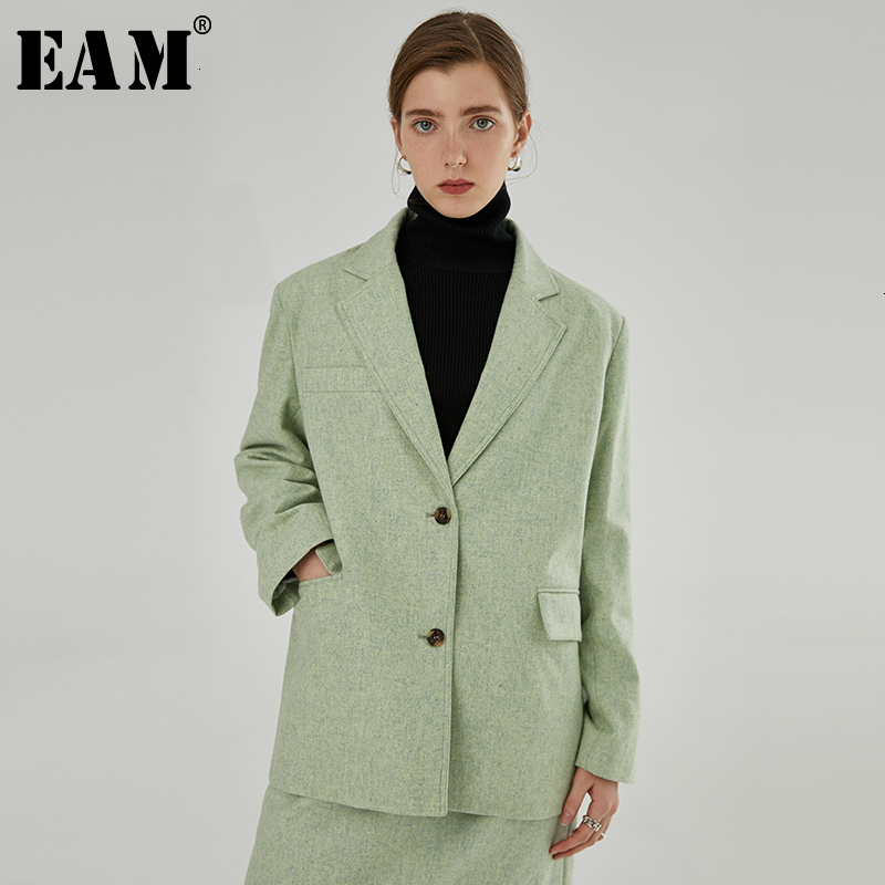 [EAM]  Women Green Single Breasted Big Size Blazer New Lapel Long Sleeve Loose Fit  Jacket Fashion Spring Autumn 2019 1H517