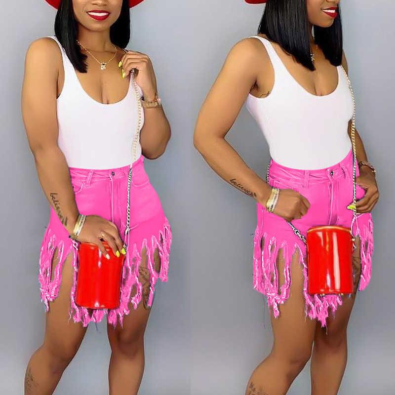 Plus ขนาด S-3XL พู่กางเกงขาสั้นกางเกงยีนส์ผู้หญิงสูงเอวกางเกงยีนส์ฤดูร้อน Streetwear กางเกงแฟชั่น