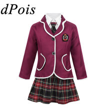DPOIS Kids Girls Student British School Uniform Children Japanese Anime Costume Suit Coat & Turn-down Collar Shirt Tie Mini Skirt(China)