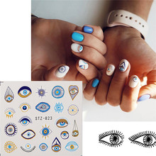 1 Pcs Eye Serie Water Transfer Slider Voor Nail Art Decoraties Charmant Retro Element Sticker Nail Manicure Tattoos Folie Decals(China)
